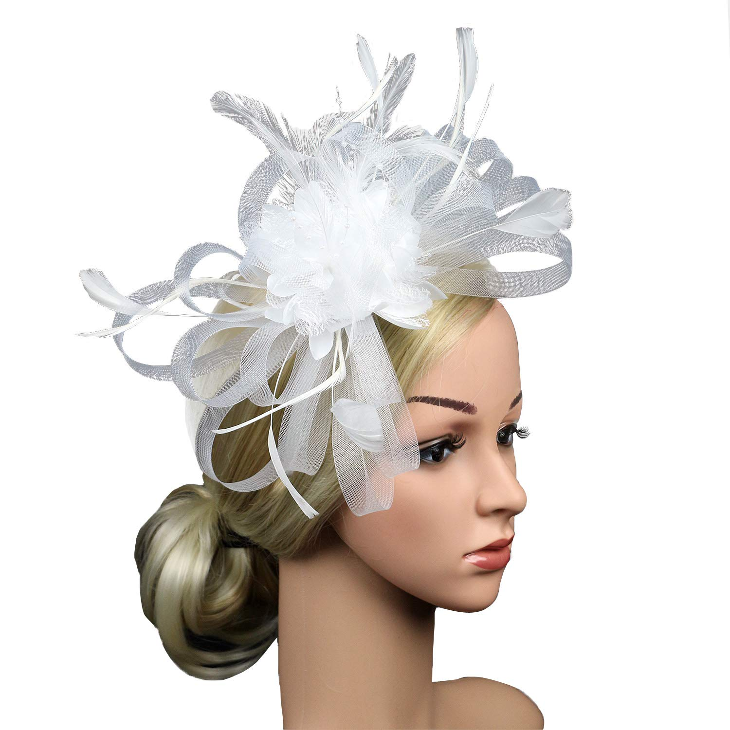 Kentucky Derby Fascinators for Women Sinamay Tea Party Hat Cocktail Headpiece Flower Mesh Feathers Headband Hat White_BD