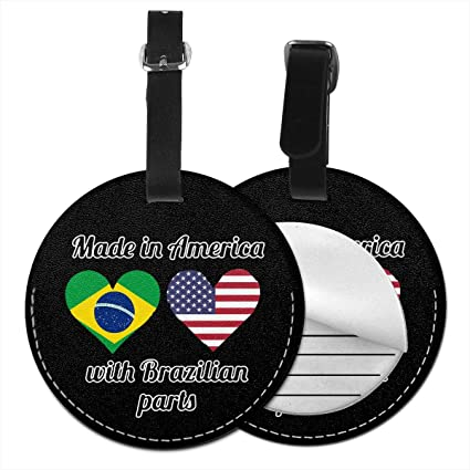 4 PCS Microfiber PU Leather Luggage Tags Baggage Labels USA Flag Bag Travel Accessories With Full Privacy Cover