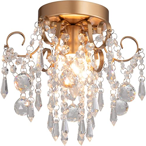 Q S Mini Chandelier Crystal Ceiling Light,Small Flush Mount Chandelier,Entryway Bedroom Barthroom Hallway Gold Light Fixture