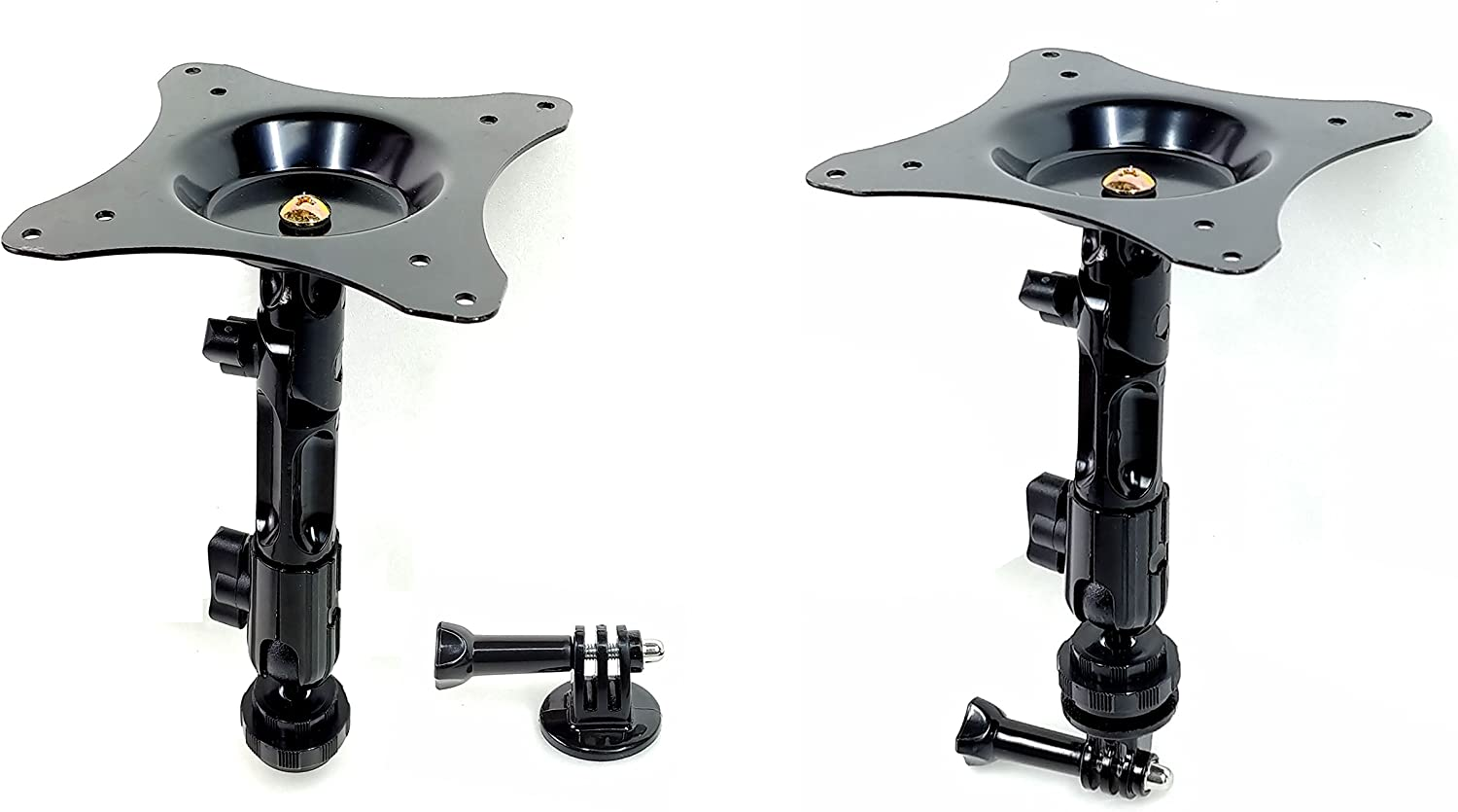 Simple Assembly Type Wall Mount Ceiling Mount with Square Steel Plate and one Joint+Ball Head Compression Parts for Standard Camera and Go Pro Camera Camera Mount and Go Pro Camera Mount