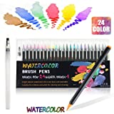 Watercolour Brush Pen Set, 24 Colors Water Based Drawing Brush Markers Soft Flexible Water Coloring Brush Tip Art Marker, Perfect for Adult Colouring Books, Manga, Comic, Calligraphy