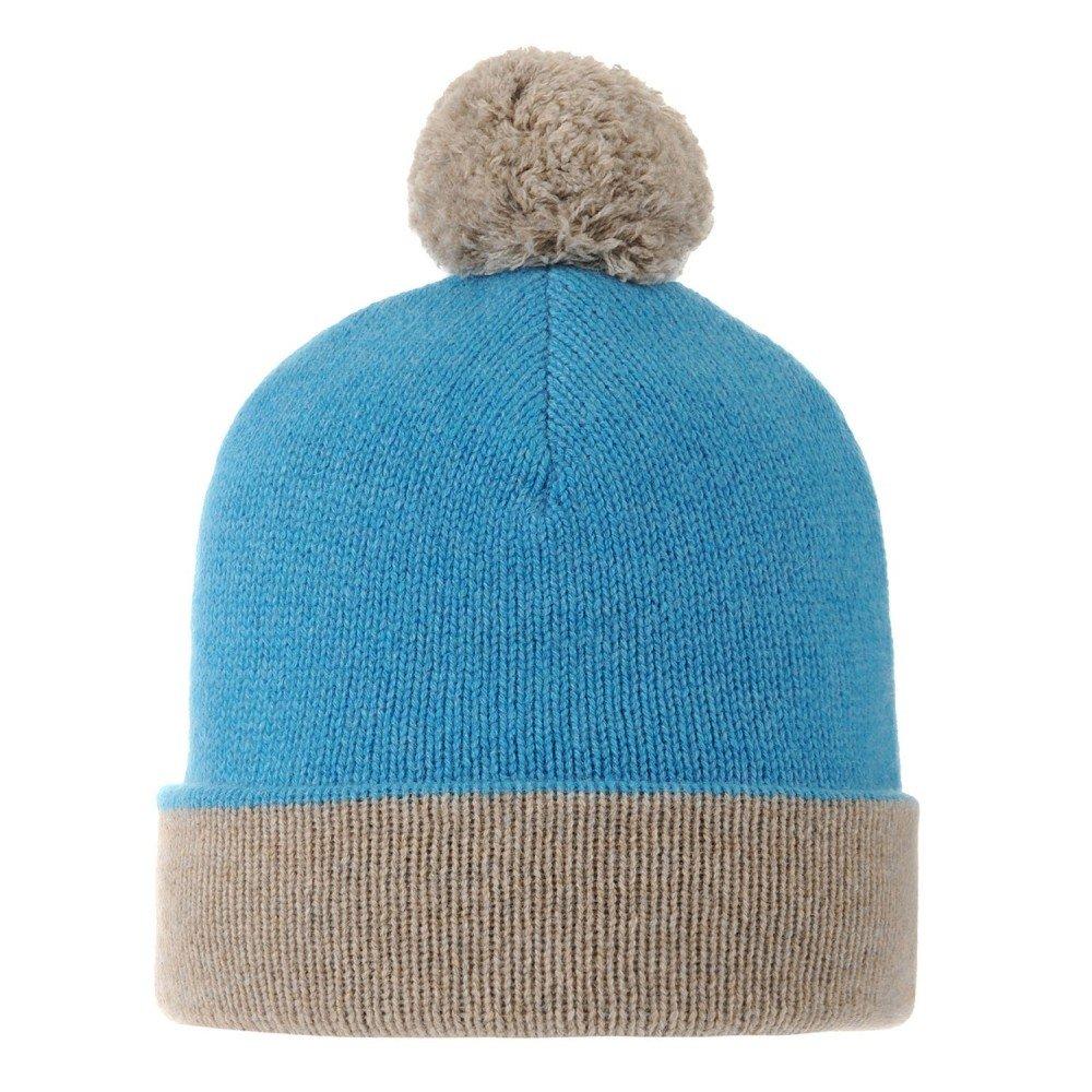 LES POULETTES Womens Bobble Hat 100% Cashmere 6 Plys Bicolour Colors - Turquoise by LES POULETTES