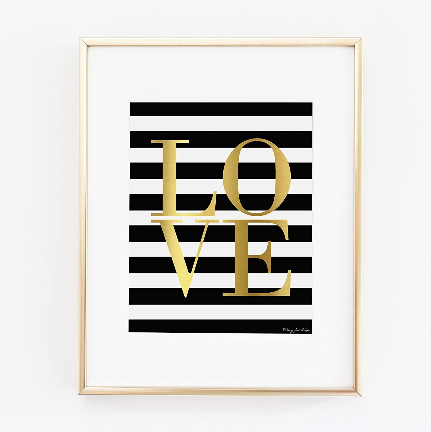 Amazon Com Gold Love With Black And White Striped Bg Art Office Decor Home Wall Print Handmade