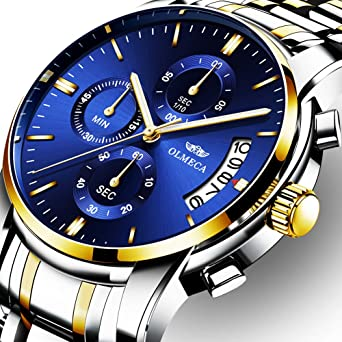 OLMECA Mens Watches Luxury Wristwatches Rhinestone Watches Waterproof Fashion Quartz Watches Stainless Steel Black Watch 0826