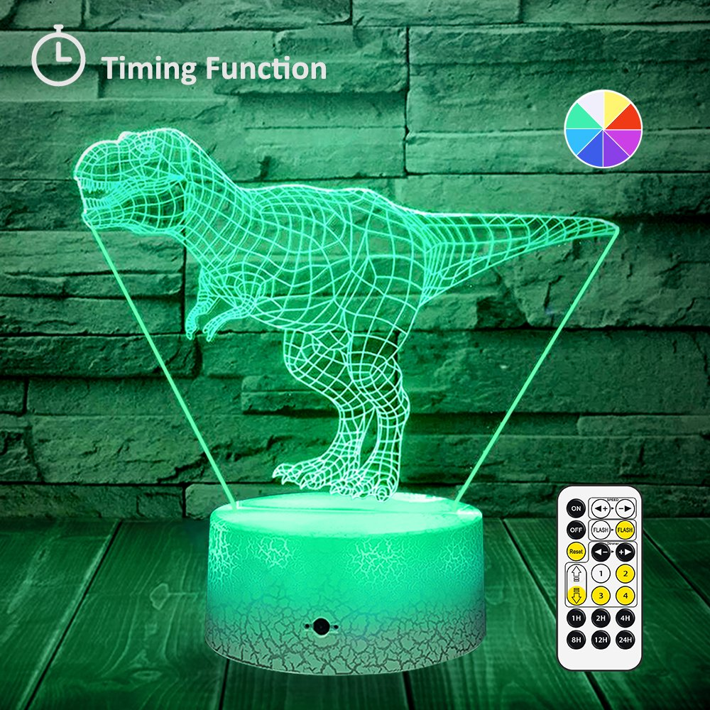 [Wall Adapter Included] Remote & Touch Control LED Dinosaur Night Light with Timer Dimmable Bedside Table Desk Lamp 7 Color Changing Nightlights for Boys Birthday Christmas Gift Home Decoration by SINYWON (Image #1)