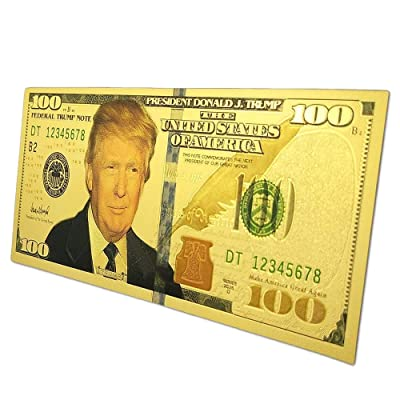 blinkee Magnate MAGA Magnet Authentic $100 President Donald Trump 24kt Gold Plated Commemorative Bank Note Collectors Item Refrigerator Magnet: Toys & Games