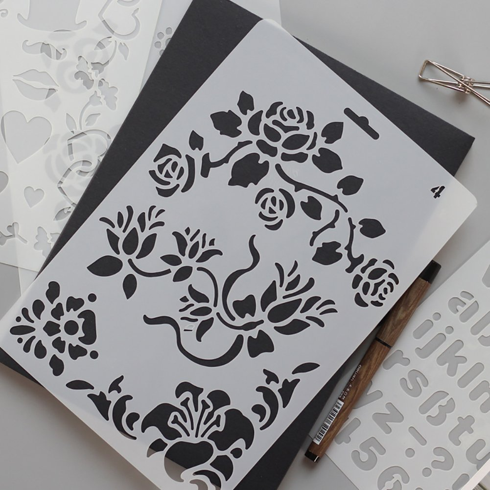 a forma di angelo Ccmart plastica disegno pittura stencil set di 10/modelli con geometria modello fiori a forma di cuore Pecfect per notebook//Diary//scrapbook//diario//carta progetti fai-da-te