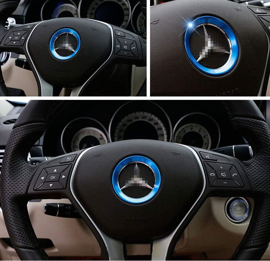 L/&U Copricerchio Centrale Volante in Alluminio aeronautico per Mercedes-Benz GLA//GLK//GLC//E//C,Astyleblue57mm