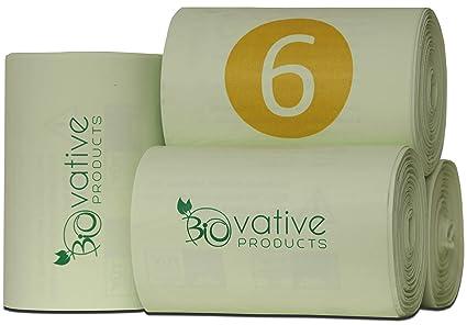 Bolsas de basura orgánica compostable 6L con y sin asa - 100% compostable y biodegradable - 200 piezas. Bolsas de basura orgánica de 6 litros con y ...