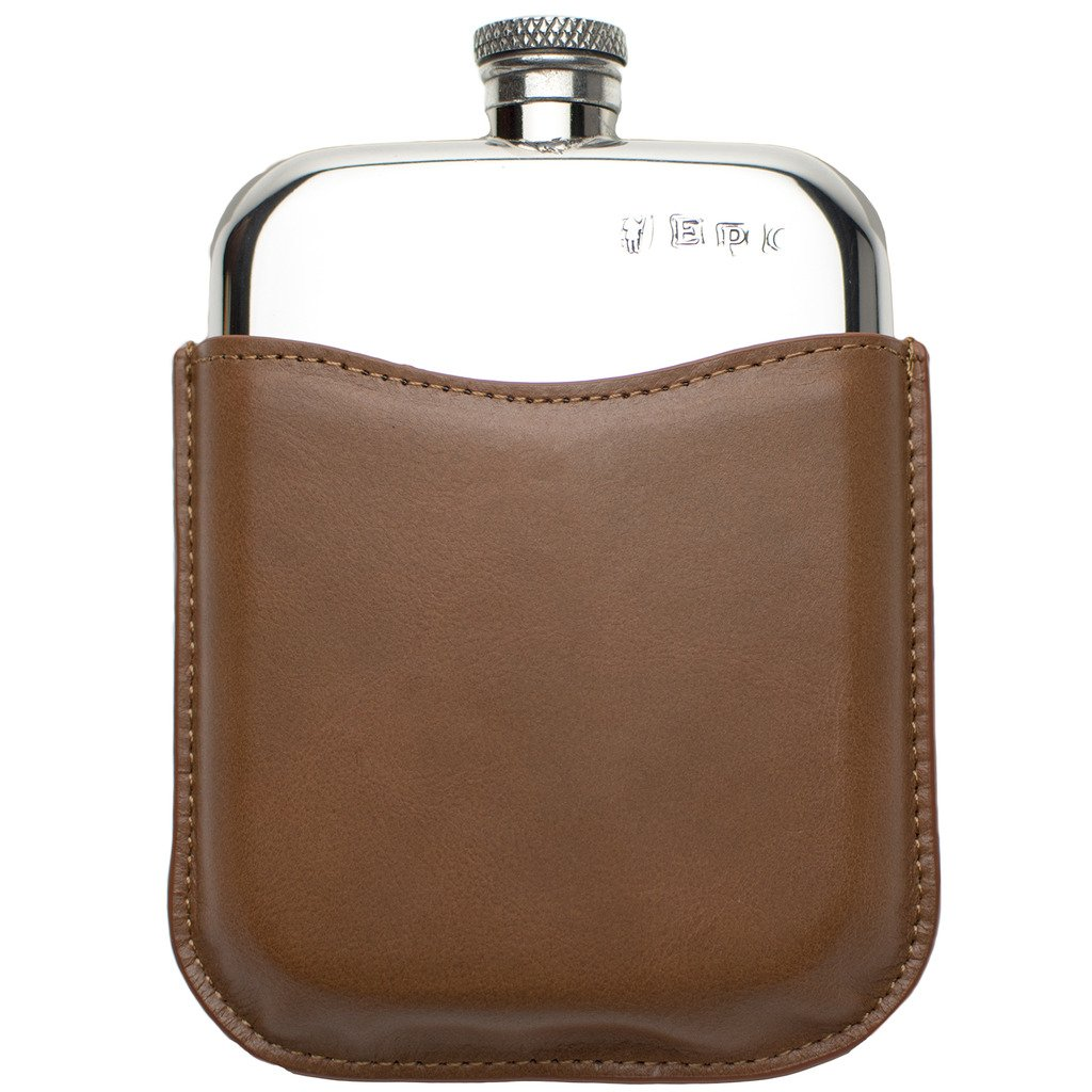 Prince of Scots Premium English Pewter Flask with Leather Pouch