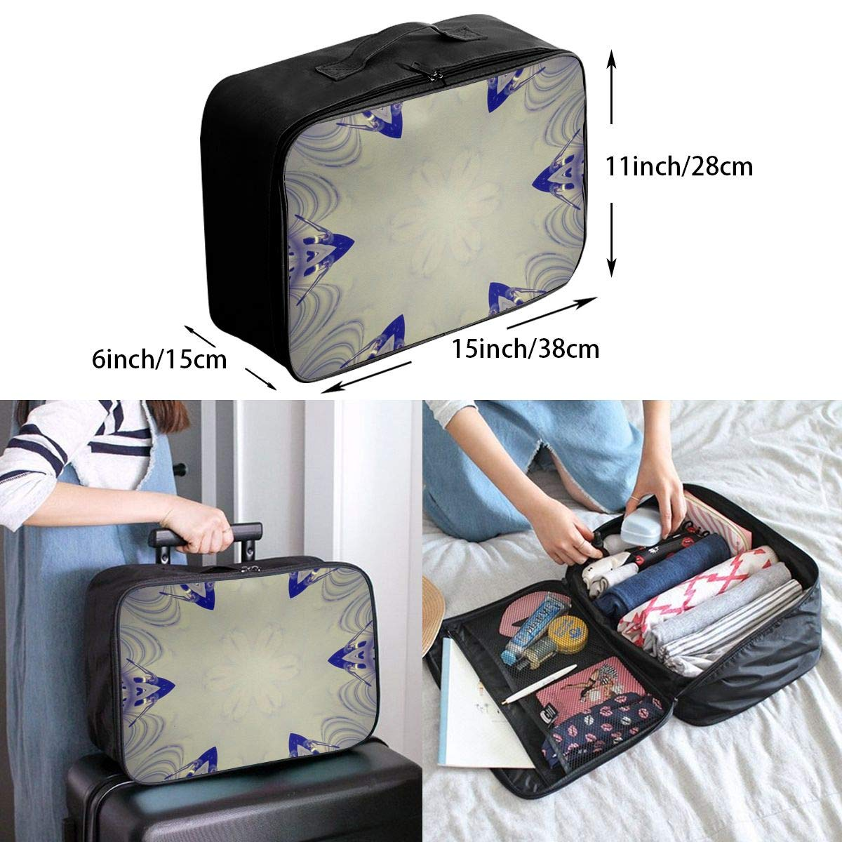 Abstract Surreal Texture Texture Travel Lightweight Waterproof Foldable Storage Carry Luggage Large Capacity Portable Luggage Bag Duffel Bag