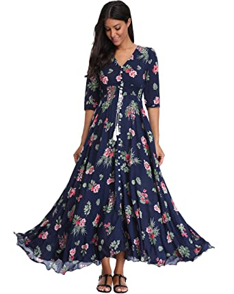 3471ef624bd BestWendding Summer Floral Print Maxi Dress Women Button up Split Long  Flowy Bohemian Beach Party Dresses