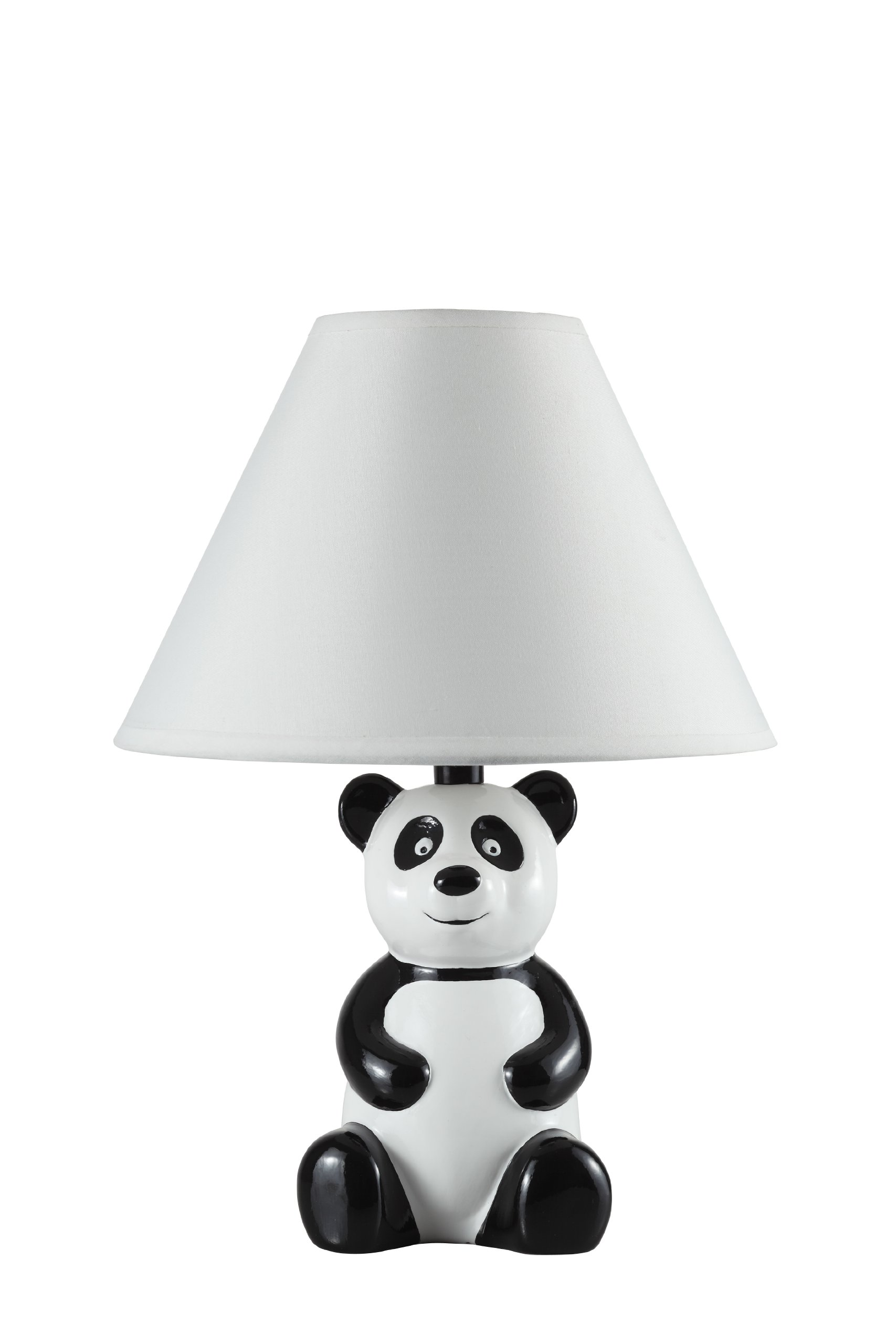 14'' White and Black Novelty Panda Table/ Desk Lamp with White Shade - 628WH