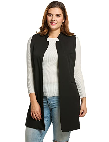Amazon.com: Meaneor Wool Vest Solid Slim Plus Size Women ...