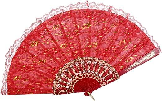 Plegable Abanico de Encaje de Color Rojo: Amazon.es: Hogar