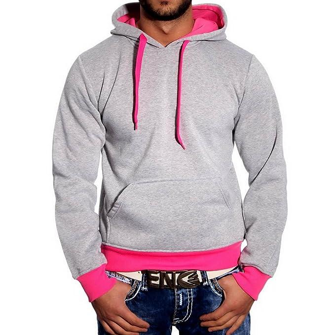 Baxboy - Sudadera con Capucha - para Hombre Gris/Rosa S: Amazon.es: Ropa y accesorios