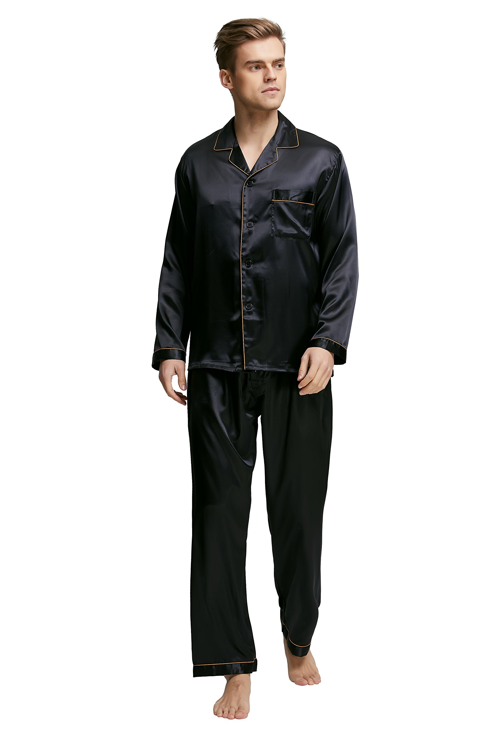 TONY AND CANDICE Men's Classic Satin Pajama Set Sleepwear (X-Large, Black With Golden Piping)