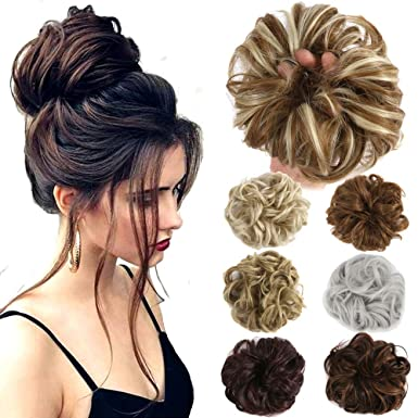 Amazoncom Hair Bun Extensions Wavy Curly Messy Donut Chignons Hair