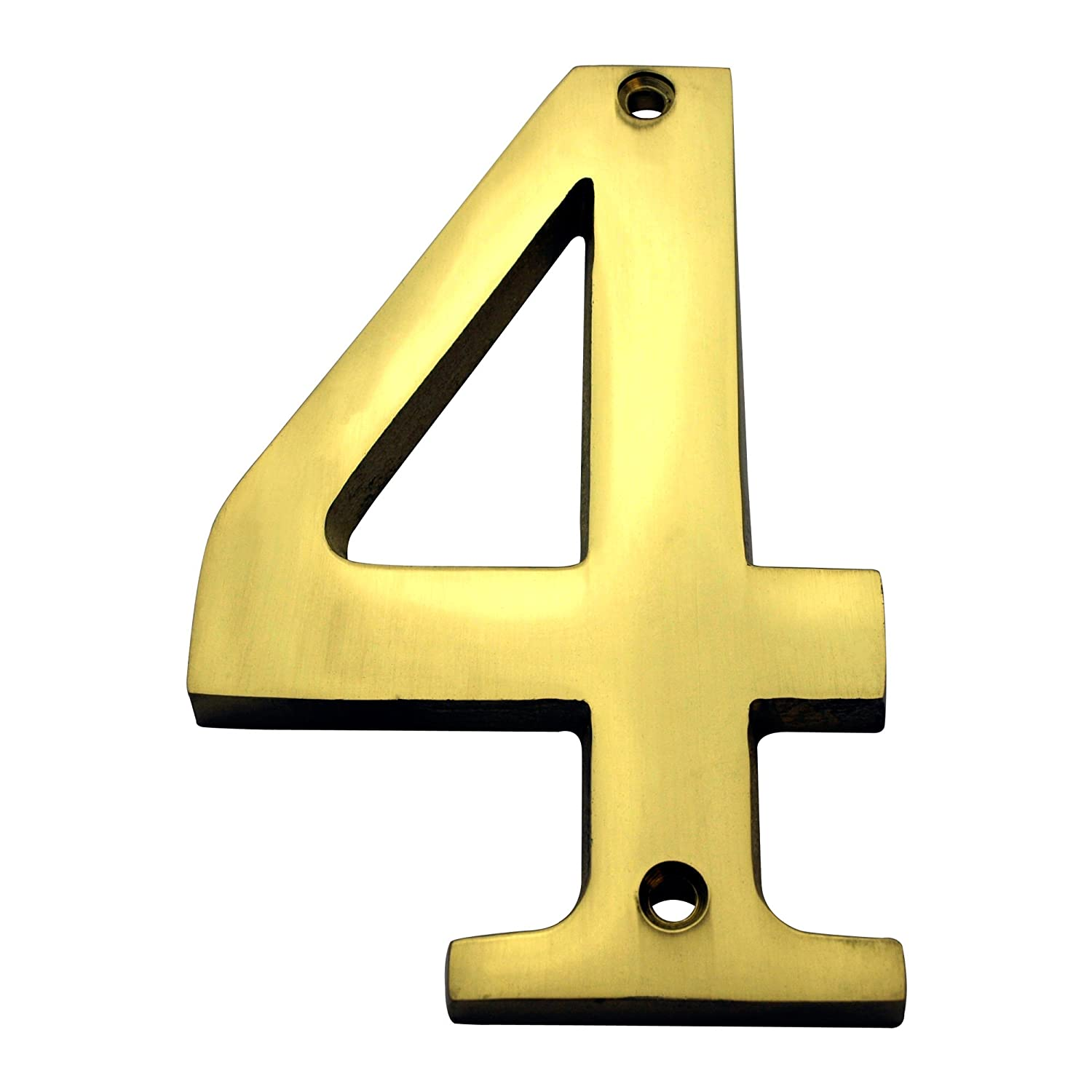 """Bolton Hardware Number """"4"""" 4 Inch Solid Brass Bright Brass Finish House Number Raised 1/4"""""""