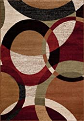 T1011 Black Cream Green 5x7 Rust Burgundy Abstract Area Rug Carpet