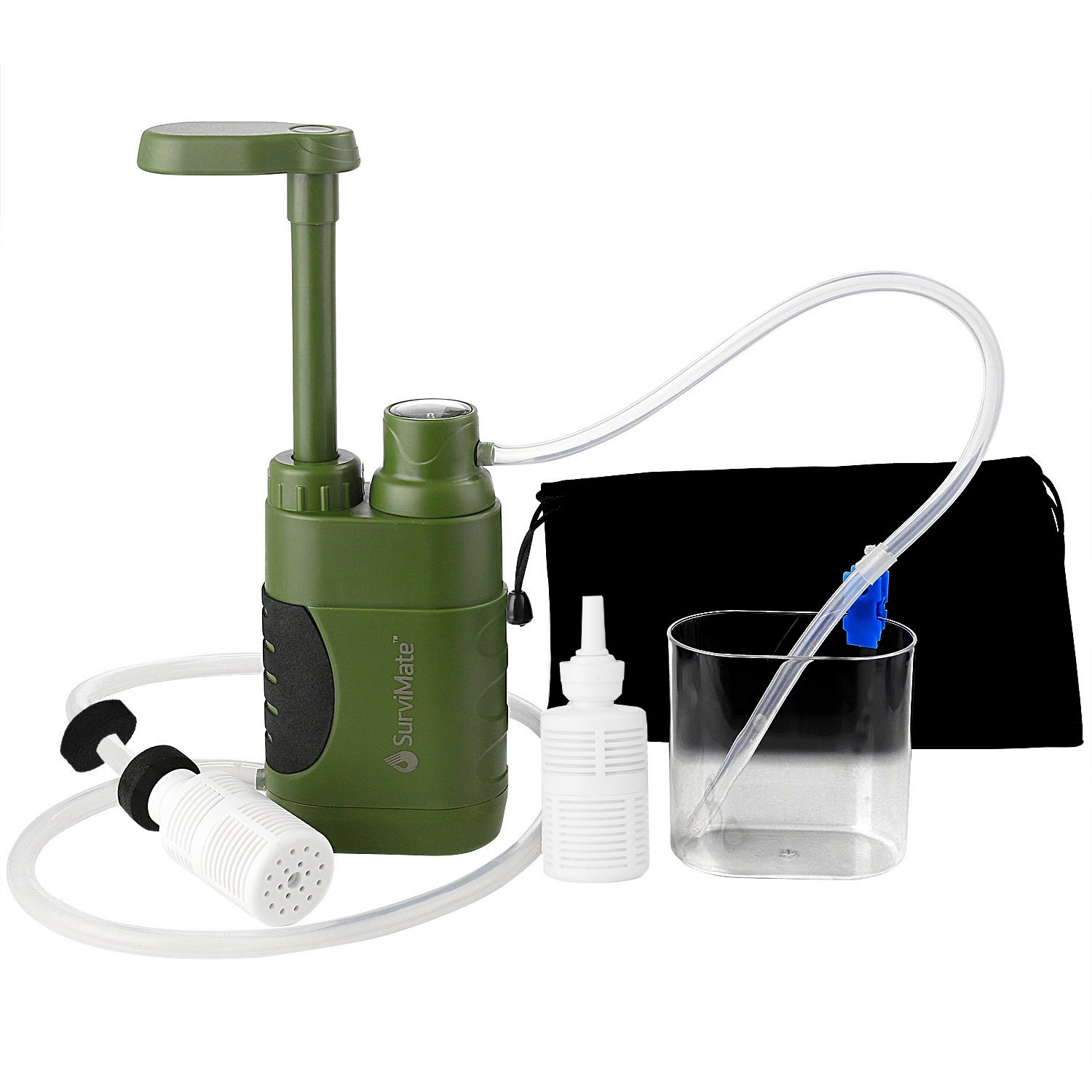 SurviMate Portable Water Filter Pump for Hiking Camping Travel Emergency use with Activated Carbon 3 Filter Stages,2 Replaceable Pre-Filter Green Pump
