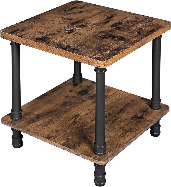 VASAGLE ULET45X Industrial Side Table, 18.7''L x 18.7''W x 21.7''H, Rustic Brown + Black