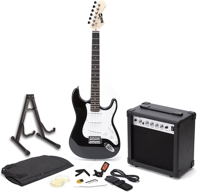RockJam Superkit Guitarra eléctrica de tamaño completo con amplificador de guitarra, Cuerdas de guitarra, Sintonizador, Correa, Estuche y cable, color Negro