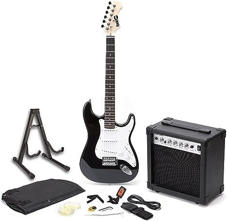 RockJam Superkit Guitarra eléctrica de tamaño completo con amplificador de guitarra, Cuerdas de guitarra, Sintonizador, Correa, Estuche y cable, color Negro: Amazon.es: Instrumentos musicales