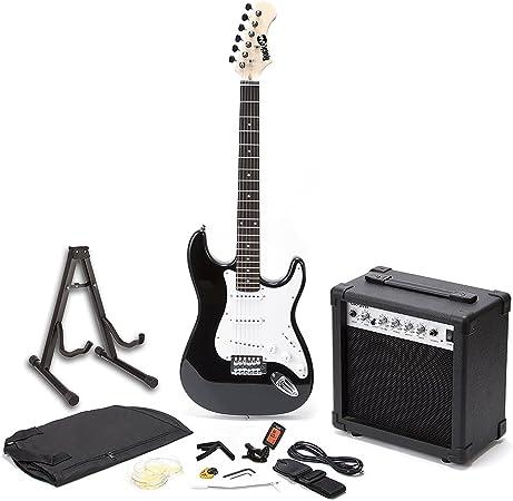 Oferta amazon: RockJam Superkit Guitarra eléctrica de tamaño completo con amplificador de guitarra, Cuerdas de guitarra, Sintonizador, Correa, Estuche y cable, color Negro