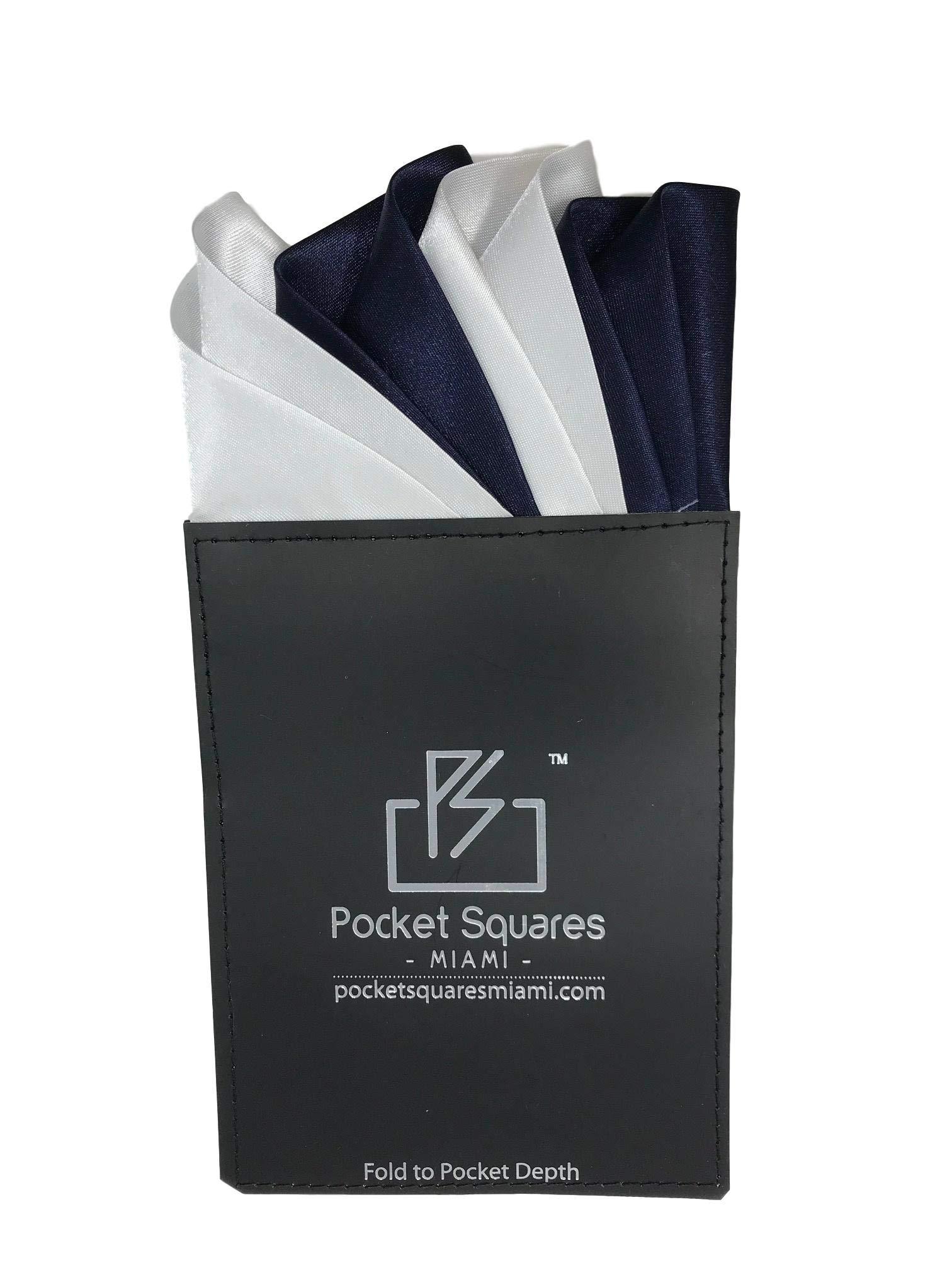 Pocket Squares Miami, Prefolded Pocket Square, Capri Collection (White/Navy)