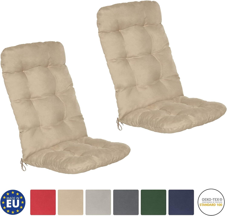 Beautissu Flair HL - Set de 2 Cojines para sillas de balcón o Asientos Exteriores con Respaldo Alto - 120x50x8 cm - Natural