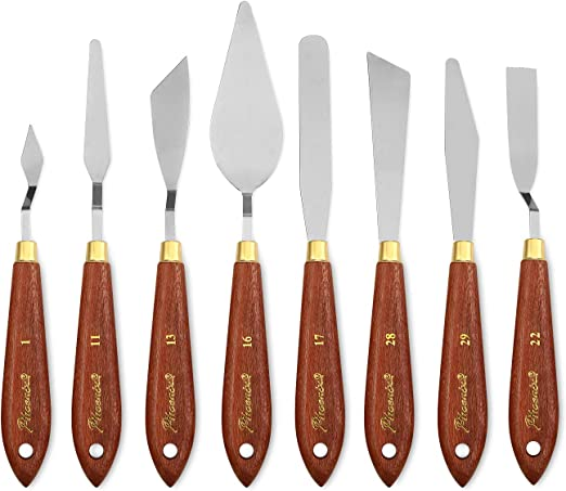 Stainless Steel/&Wooden Palette Knifes Scraper Set Spatula For Oil Painting NICE