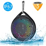 Shower Speaker - AVWOO IP67 Waterproof Bluetooth Speaker, Portable Bluetooth Speaker with Enhanced Bass and Built-in Mic, Mini Bluetooth Speaker with Compact Size for Home Outdoor Travel (Black)