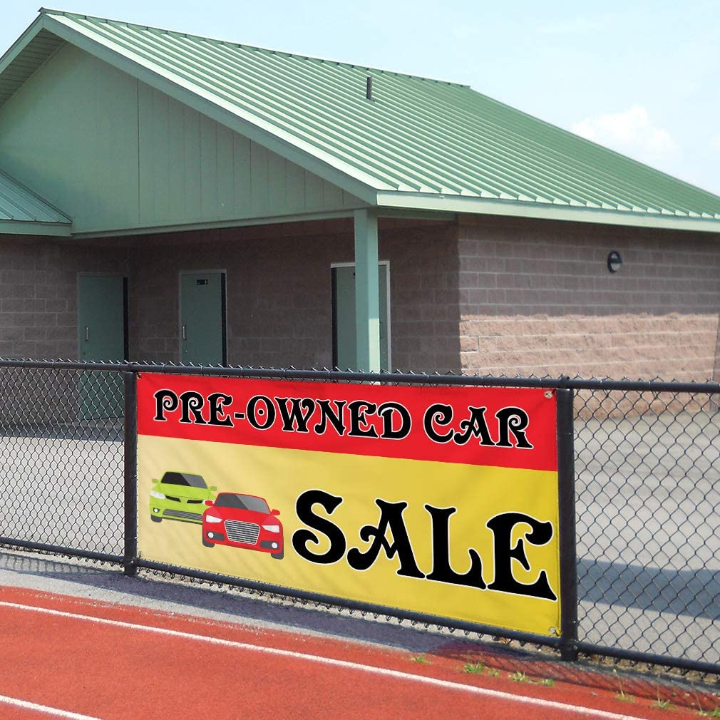 48inx96in One Banner Vinyl Banner Sign Pre-Owned Car Sale #1 Style A Automotive Marketing Advertising Red 8 Grommets Multiple Sizes Available