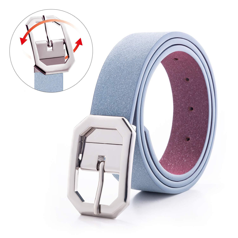Reversible G Belt for Women-Glitter Leather Prom Dress Belts for Jeans Plus Size Women Fluorescence Waist Band 1.25''