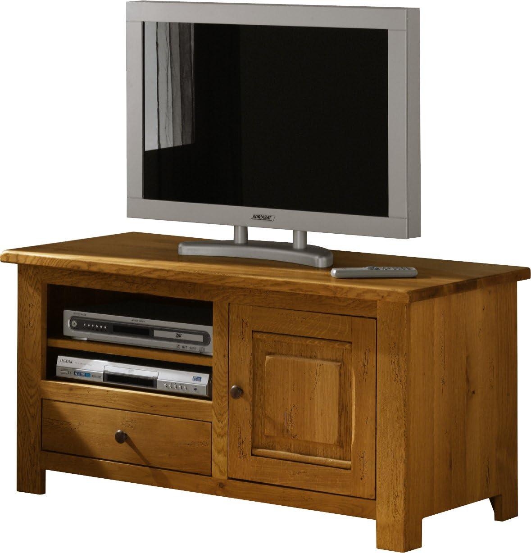 Destock Meubles Mobile TV/Hi-Fi LCD Plasma Roble 1 Puerta 1 cajón: Amazon.es: Hogar