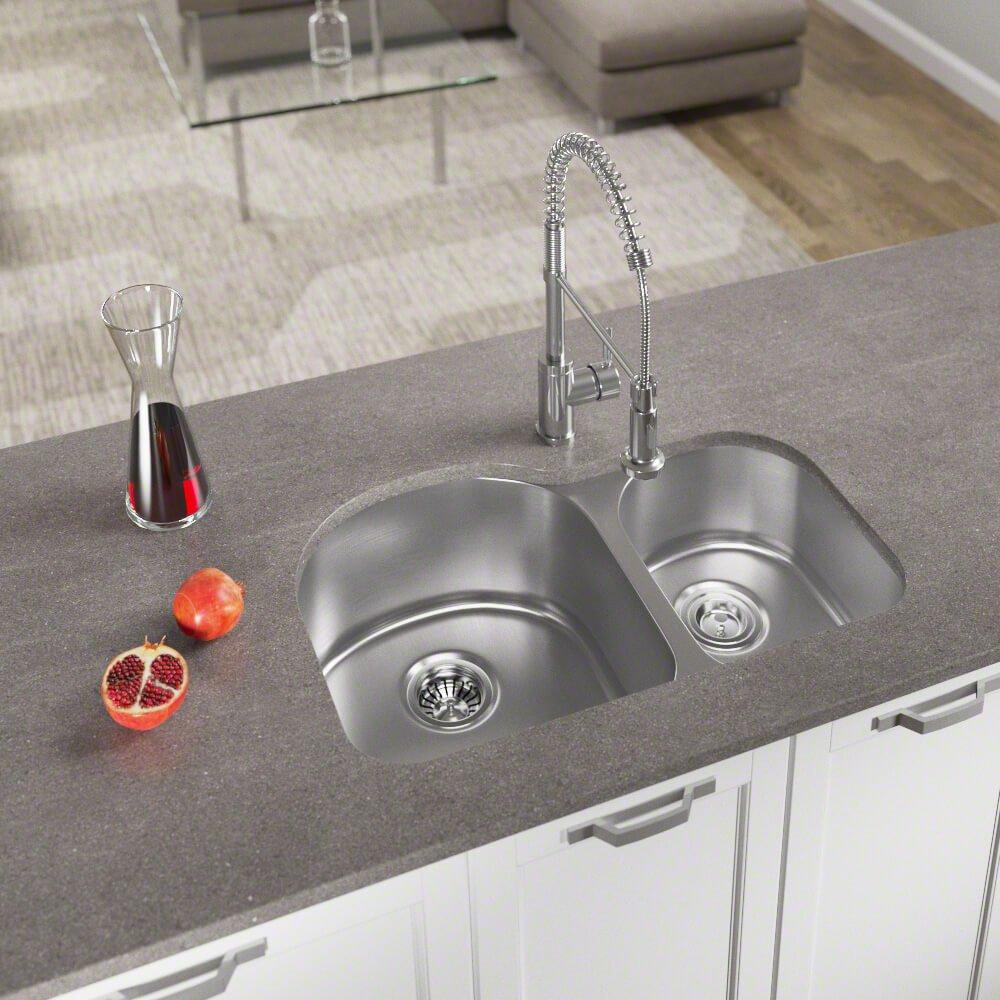 Bundle - 3 Items: Sink, Basket Strainer, and Standard Strainer The MR Direct US1031R 18 Gauge Kitchen Ensemble US1031R-ENS