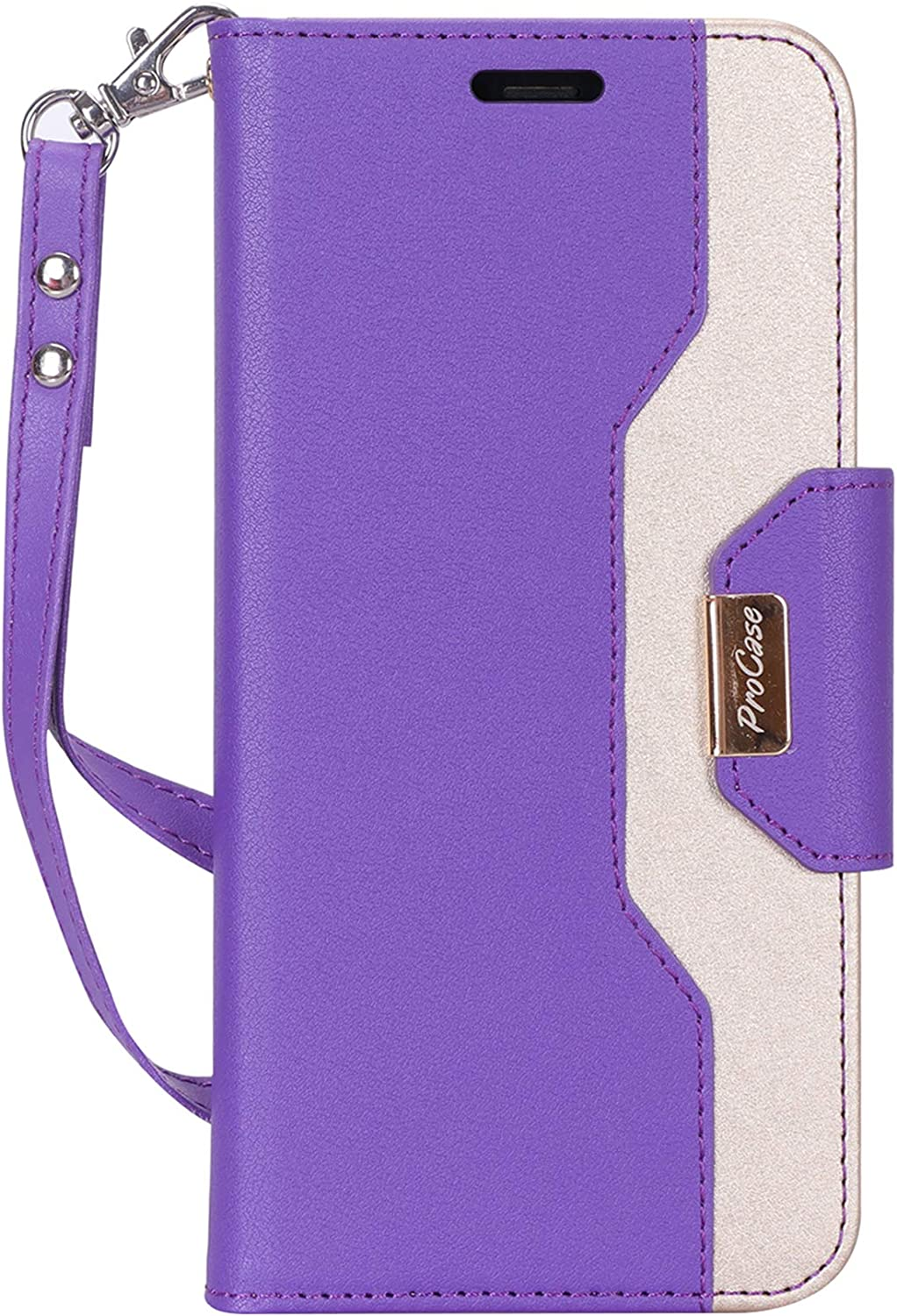 "ProCase Wallet Case for iPhone XR, Folio Flip Case with Kickstand Card Holders Mirror Wristlet, Folding Stand Protective Cover for Apple iPhone XR 6.1"" 2018 Release -Purple"