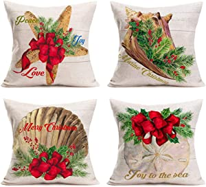 "Hopyeer Ocean Park Merry Christmas Home Sofa Decoration Pillow Covers Decor Vintage Wood Coastal Starfish Beach Scallop Coral Red Xmas Mistletoe Cushion Cover 18""X18"" Nautical Pillowcase (OP-Nautical)"