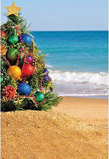Sea Beach Background 8x6.5ft Merry Christmas Photography Backdrop Green Xmas Tree Golden Balls Sunny Blue Ocean Seaside Starfish Holiday New Year Wedding Party Baby Kids Portrait Shoot Banner