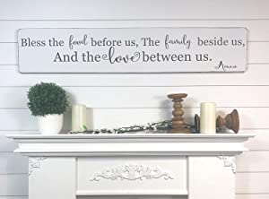 Emily Bless The Food Before Us Rustic Kitchen Dining Room Sign The Family Beside Us and The Love Between Us Prayer Wooden Sign Crafts for Living Room Decorative