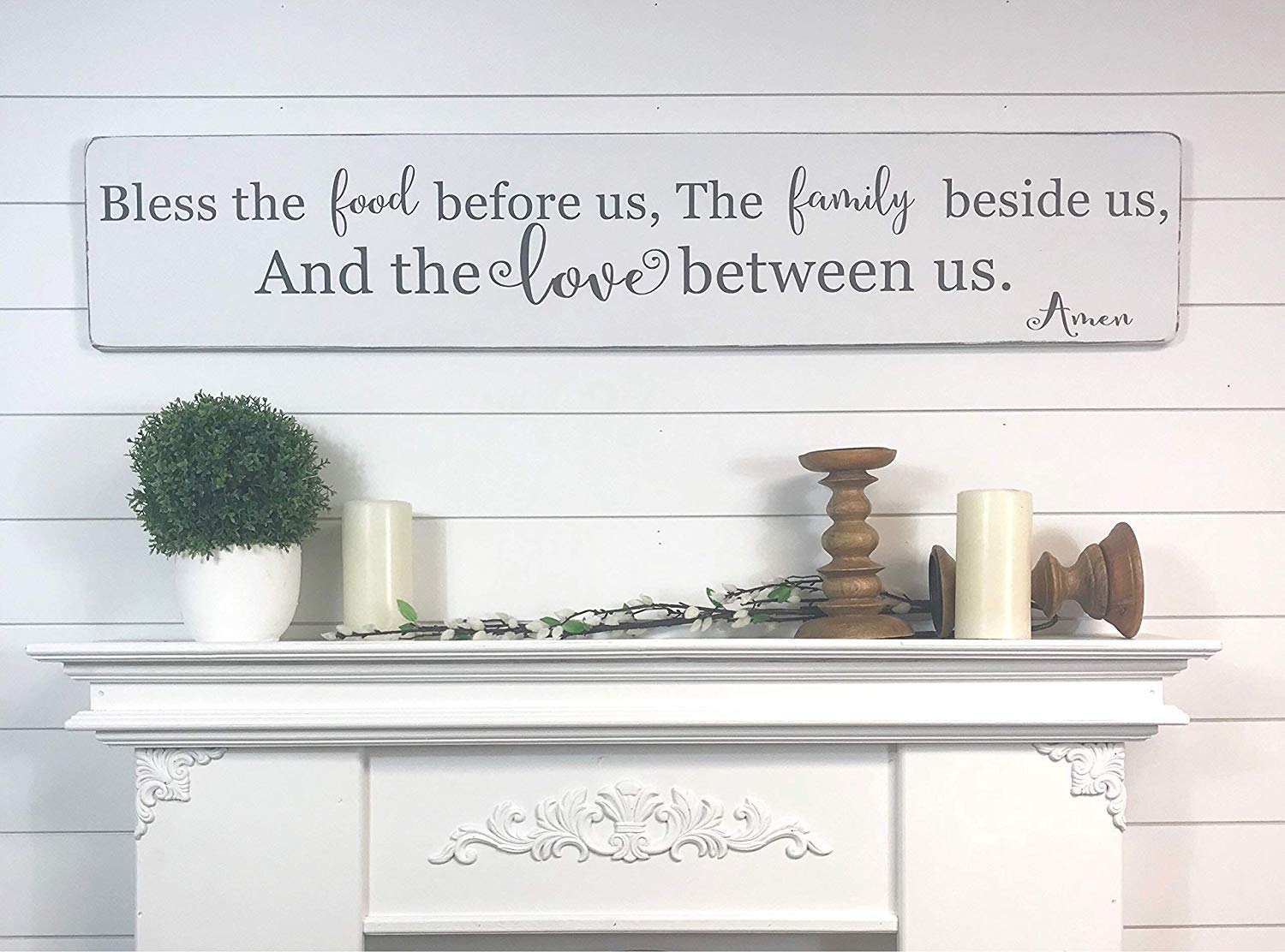 Emily Bless The Food Before Us Rustic Kitchen Dining Room Sign Family Beside And Love Between Prayer Wooden Crafts For Living