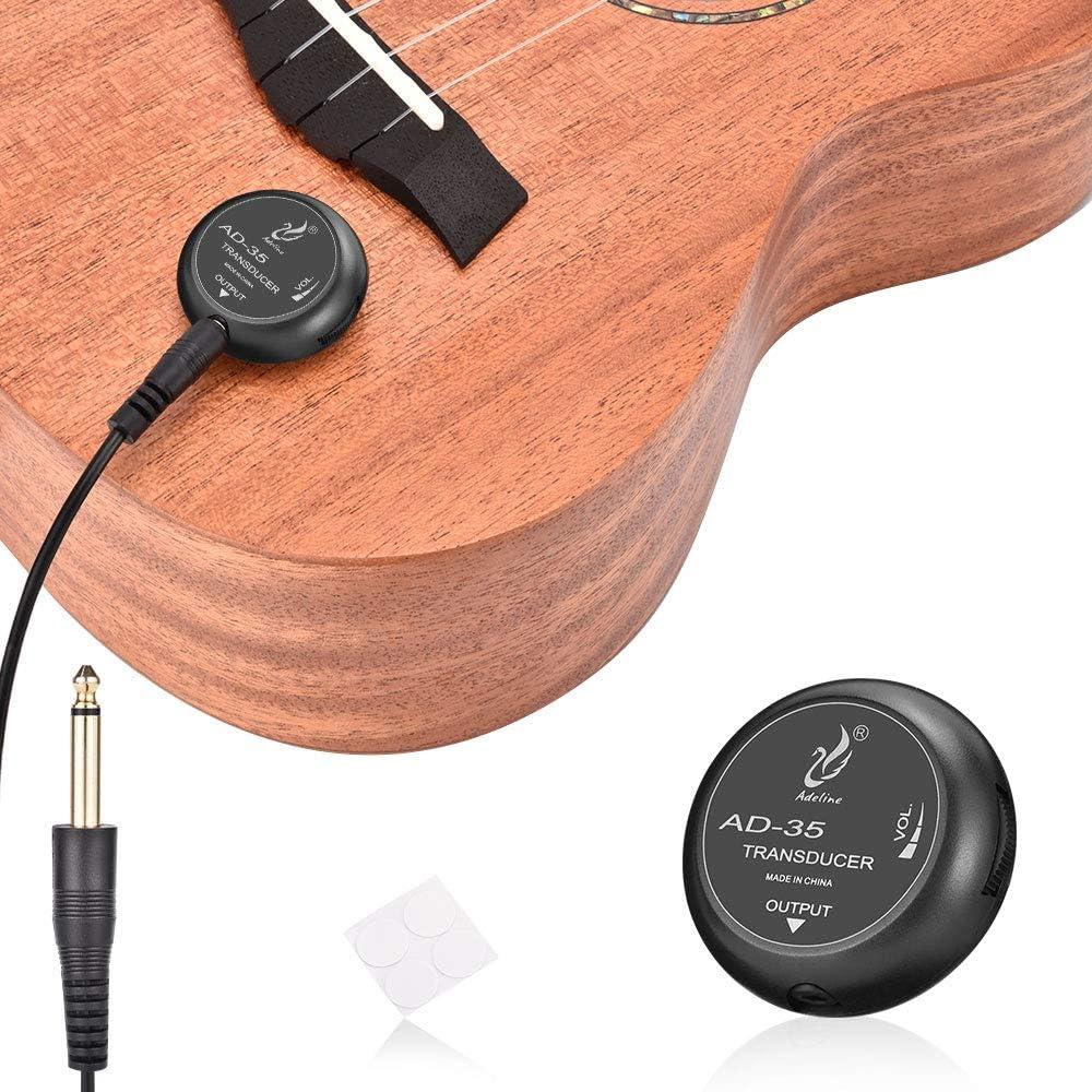 OTraki Guitarra Piezo Pickup, Pastillas Fonocaptoras para Instrumentos de Cuerda, Transductor Clásica para Guitarra Ukulele Violín Viola Violonchelo Banjo Contacto Micrófono Pickup / Volumen