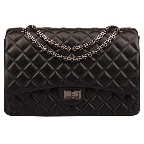 Ainifeel Women s Quilted Oversize Genuine Leather Shoulder Handbag Hobo Bag  Purse (X-Large 14501154d63a4