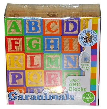 Amazoncom 50 Piece Jumbo Sized Wooden Alphabet Blocks Toys Games