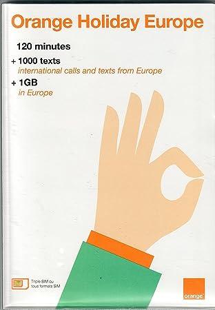 Orange Holiday Europe - prepaid SIM card (120 mn, 1000 SMS, 1GB in ...