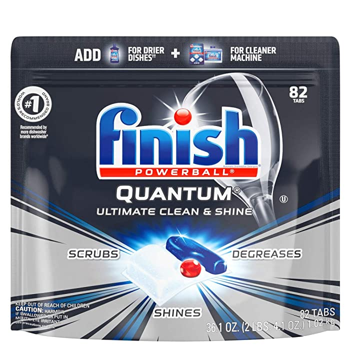 Finish - Quantum - 82ct - Dishwasher Detergent - Powerball - Ultimate Clean & Shine - Dishwashing Tablets - Dish Tabs