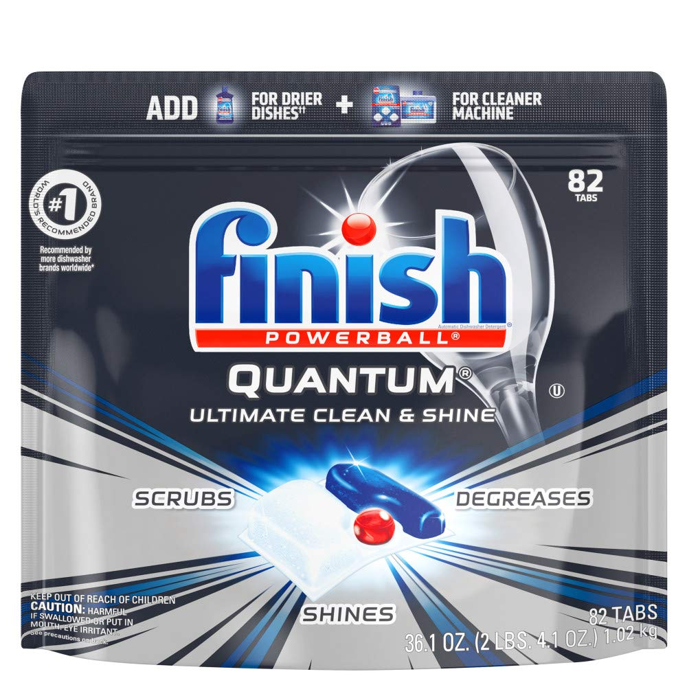 Finish – Quantum – 82 Count – Dishwasher Detergent – Powerball – Ultimate Clean & Shine – Dishwashing Tablets – Dish Tabs, Pack of 1