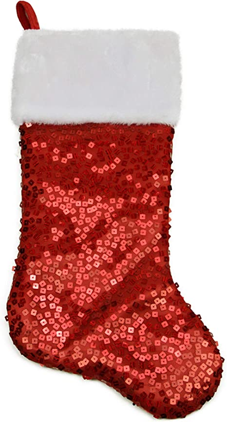 Northlight 23.25 Purple and Silver Reversible Sequined Christmas Stocking with Faux Fur Cuff