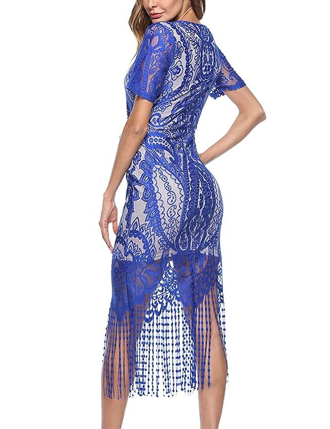 f0765735a FeelinGirl 1920s Vintage Fleco Encaje Vestido de Fiesta para Mujer